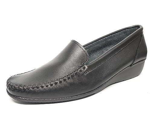 Zapato Mujer Casual Mocasin Marca DELTELL en Piel Color Negro 300-22 ...