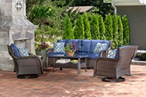 Hanover STRATH4PCSW-S-NVY Strathmere (4 Piece) Lounge Set, Outdoor Furniture, Navy Blue