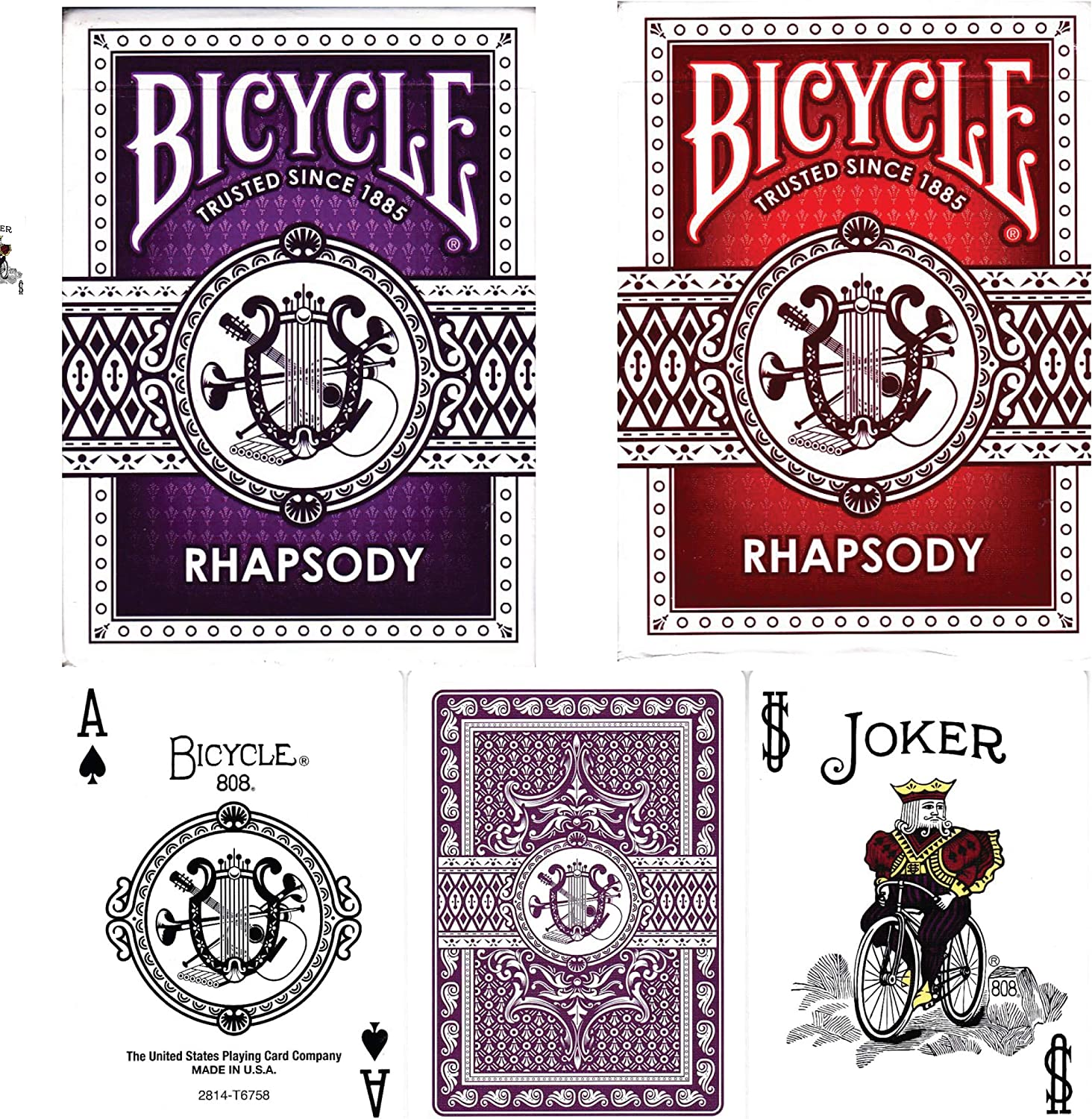 Official Bicycle Poker Size Standard Index Playing Cards Bicycle Playing Cards 6 Deck Bundle Rhapsody Design 6 Decks 3 Purple /& 3 Red