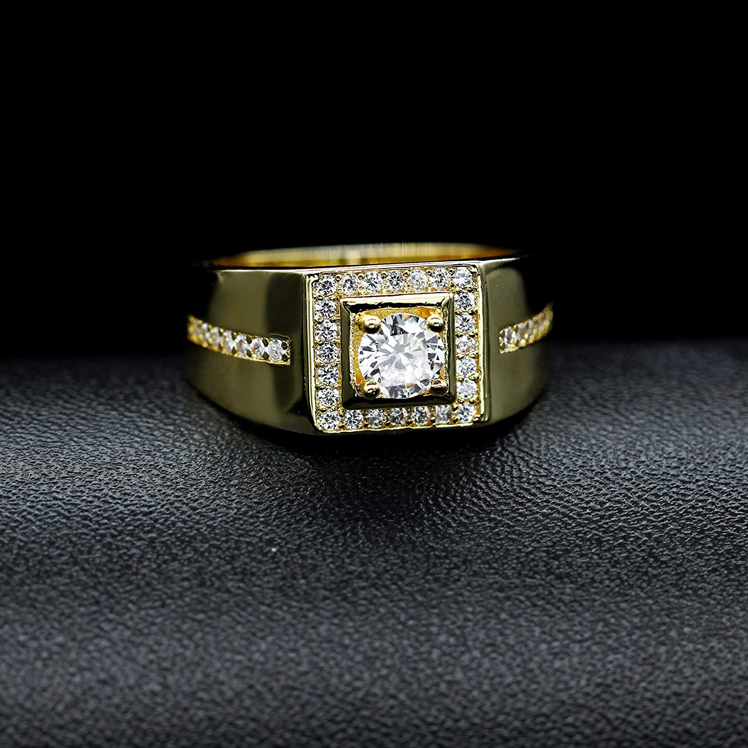 Uloveido Mens 8 mm Round Cubic Zirconia Comfort Fit Wedding Band Platinum Rose Gold Plated Square Engagement Ring KR201