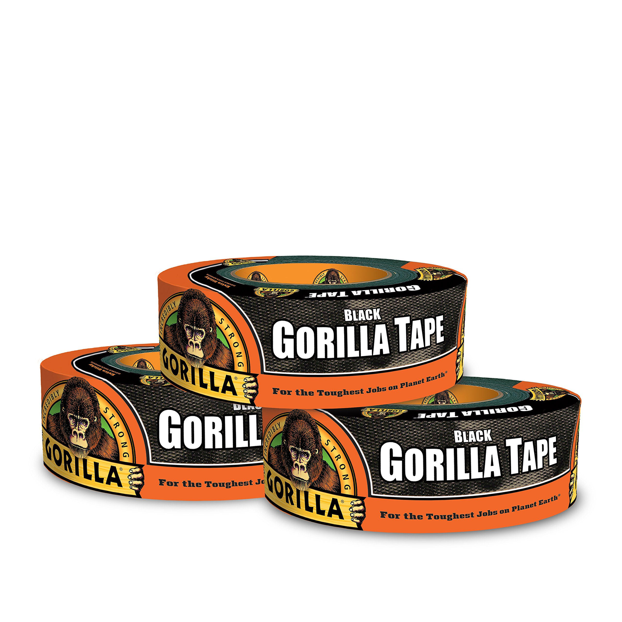 Gorilla Tape, Black Duct Tape, 1.88'' x 35 yd, Black, (Pack of 3)