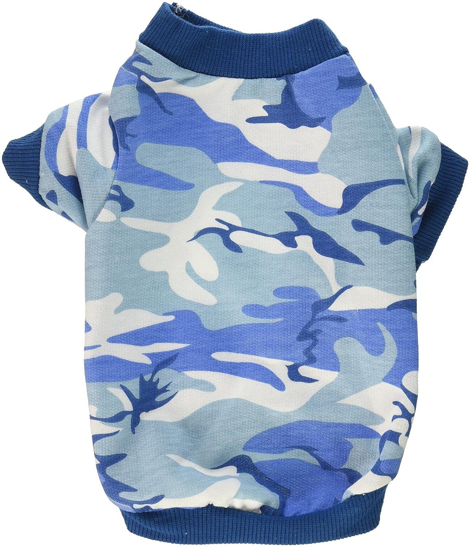 Smalllee Lucky Ranger pour Animal Domestique Vêtements pour Petit Chien Chat 100% Coton Camo Camouflage T-Shirt pour Homme Imprimé Bleu S SMALLLEE_LUCKY_STORE BFL073-S