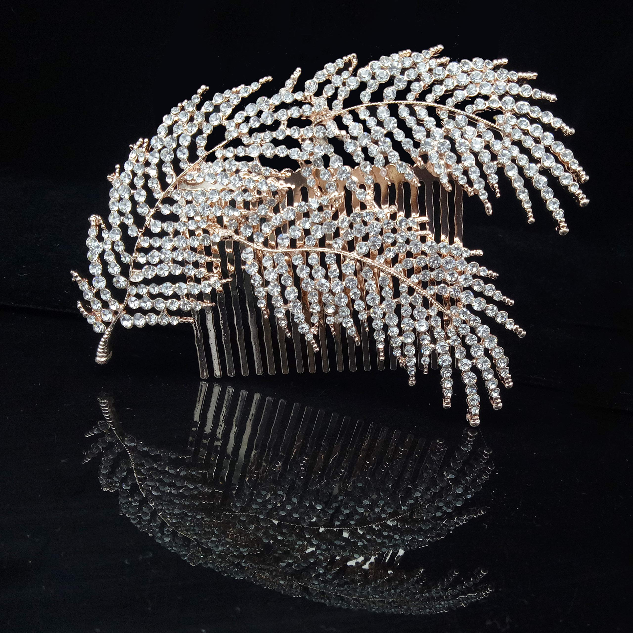 Wedding Crystal Rhinestones Hair Combs Clips Decorative Leaves Bridal Headpiece Hair Accessories for Brides, Rose gold by JER Fashion