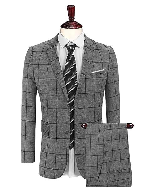 Amazon.com: Coofandy – 2 piezas Plaid Suit Set Single ...