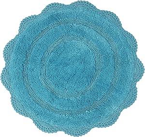 Chardin Home - 100% Pure Cotton - Crochet Round Bath Rug, 24'' Inch Round with Latex Spray Non-Skid Backing, Aqua-Blue