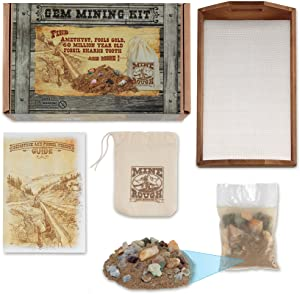 Squire Boone Village Gem Mining Kit with Wood Sifter, Mine Rough, Rock and Mineral Chart with Amethyst, Fools Gold and Sharks Tooth-