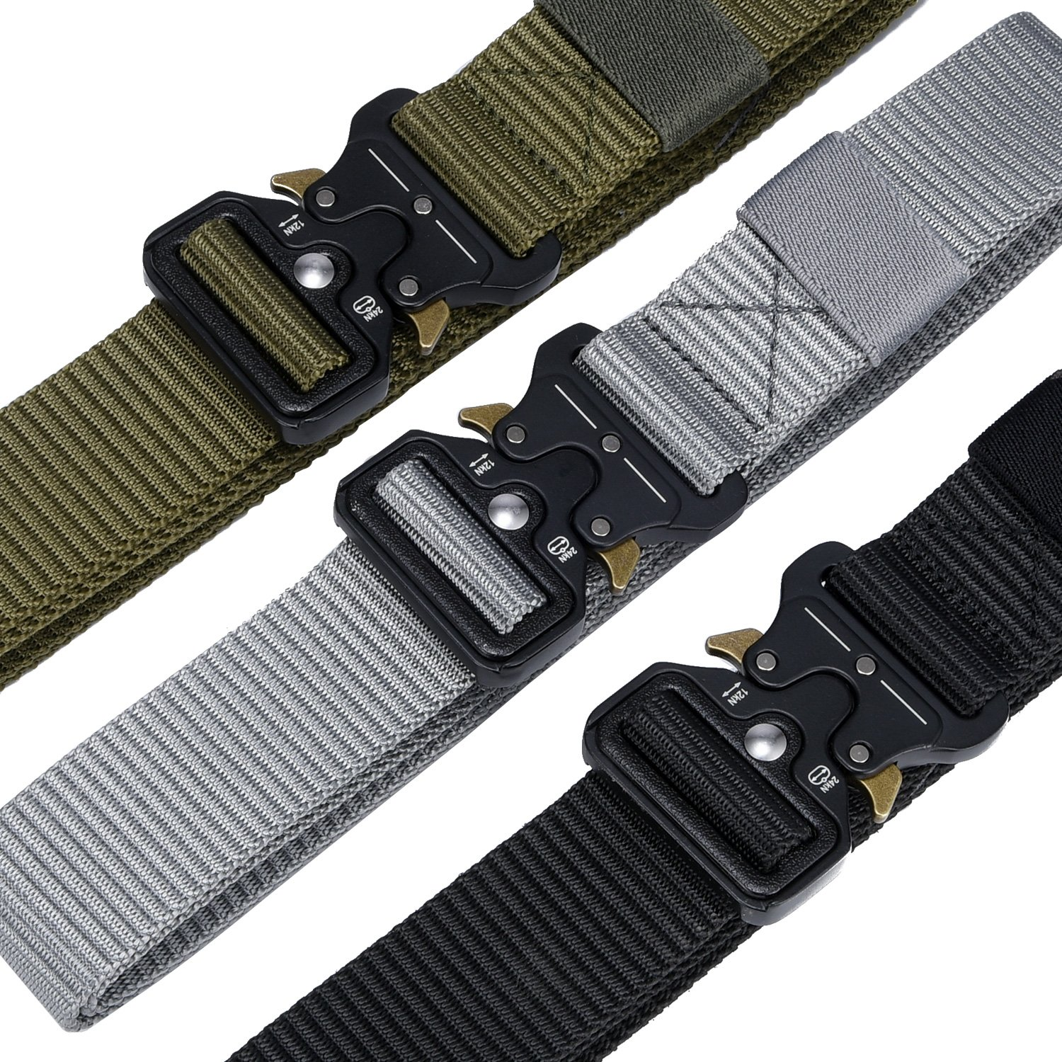 Military Tactical Belt,Quick Release Buckle, Long 43''-55'' Wide1.5'',Heavy Duty Waist Belt (Black, 47 inch) by MarkPorda (Image #6)
