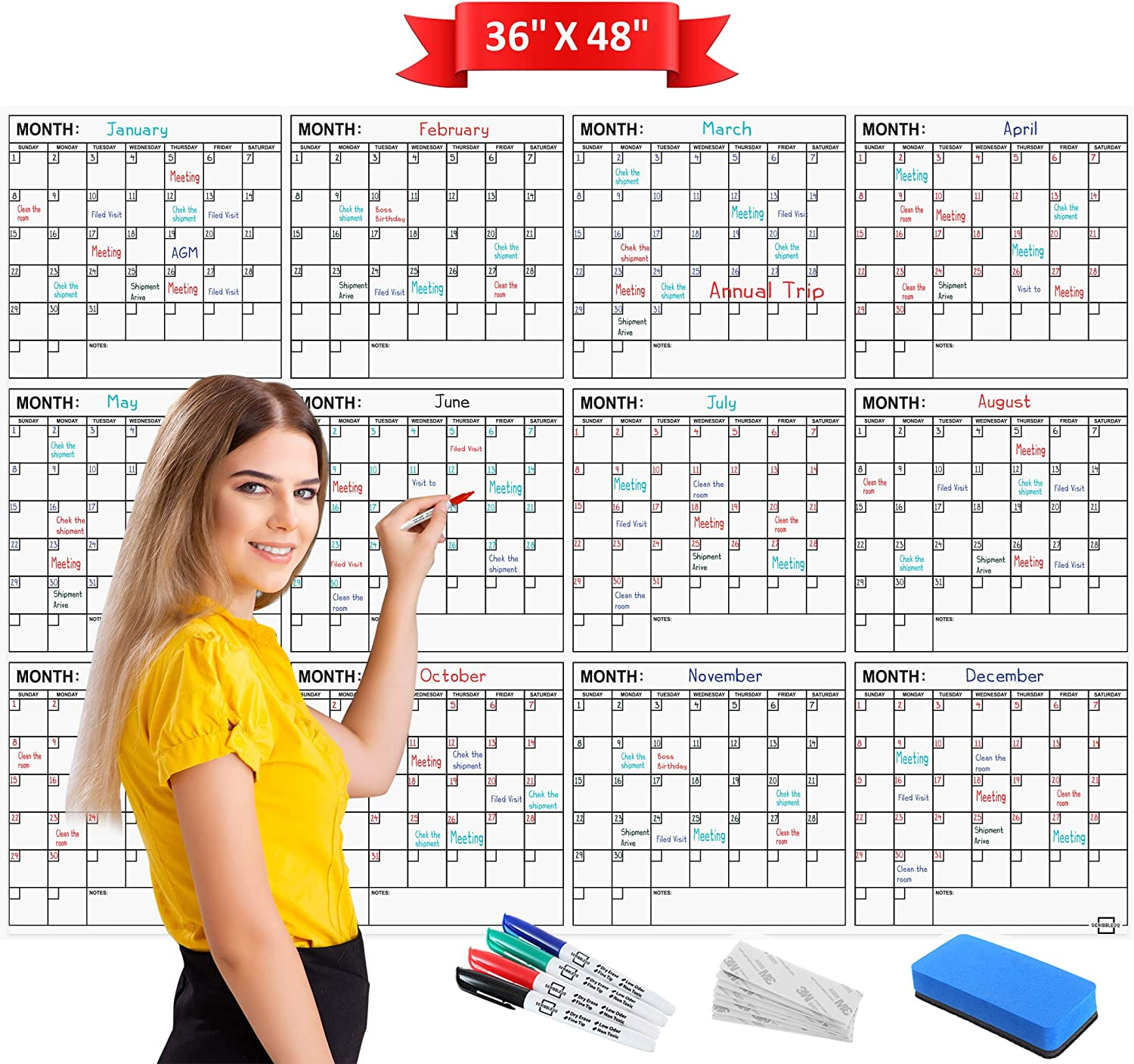"""Jumbo Dry Erase Yearly Calendar 36"""" x 48"""" 12 Month Reusable Wall Planner Includes 4 Markers 1 Eraser and Mounting Tape.… (Horizontal)"""