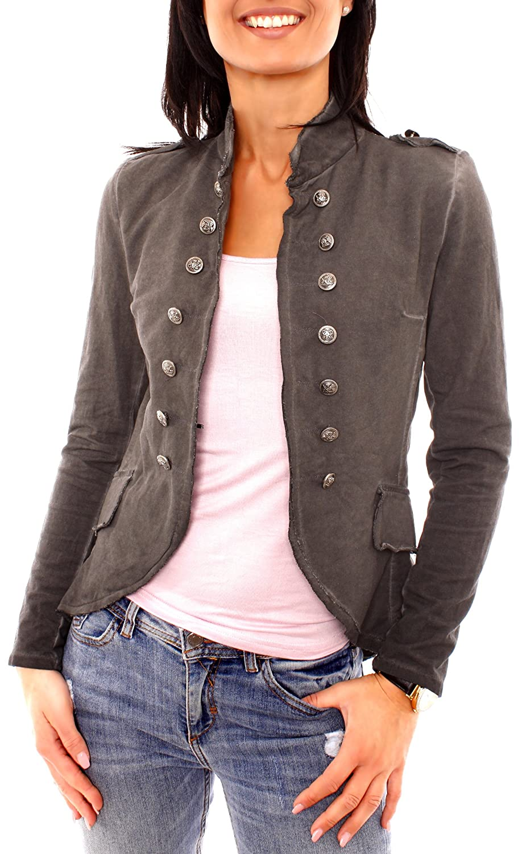 Fragola Moda Damen Vintage Military Jerseyblazer