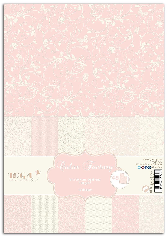 Toga ppk001 Nascita Confezione da 48 Fogli Stampati Carta, Carta, Animaux Bleu et Jaune, 21 x 30,5 x 1 cm PPK029