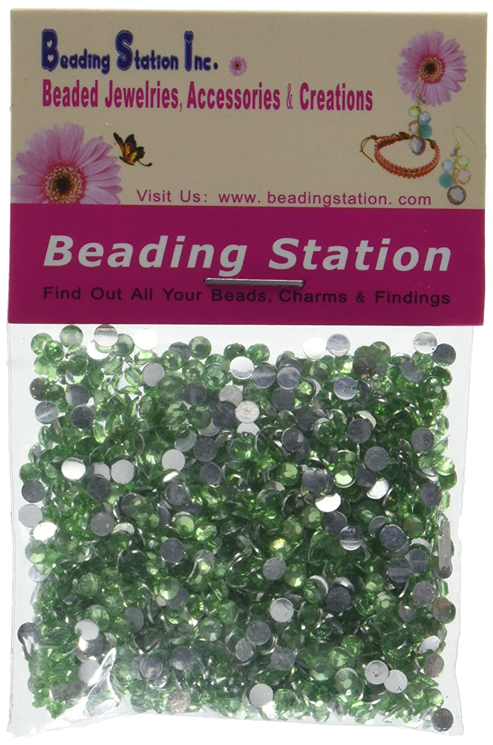 Beading Station 1440-Piece Flat Back Brilliant 14-Cut Round Rhinestones, 3mm-10ss, Light Green by Beading Station   B007W7RKN4