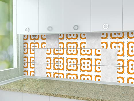 Life Decor Küche Fliesen Aufkleber Modernes Muster Orange ...