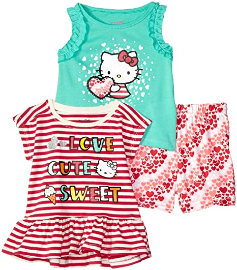 aa01a96e2 Amazon.com  Hello Kitty Baby Girls 3 Piece Short Set with Fashion ...