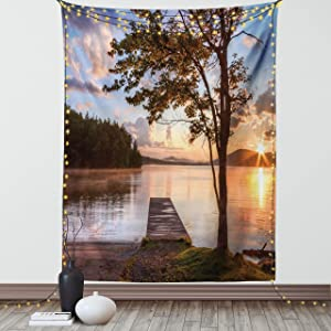 Ambesonne Seascape Tapestry, Shore of Seventh Lake Tree Sunbeam at Sunset Water Reflection Tranquility, Wall Hanging for Bedroom Living Room Dorm Decor, 40