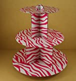 "12"" Three Tiers Cupcake Stand ALL Zebra Stripped Print (PINK & WHITE)"