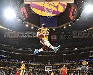 LeBron James Los Angeles Lakers Unsigned Dunk Against Houston Rockets Photograph - Original NBA Art and Prints