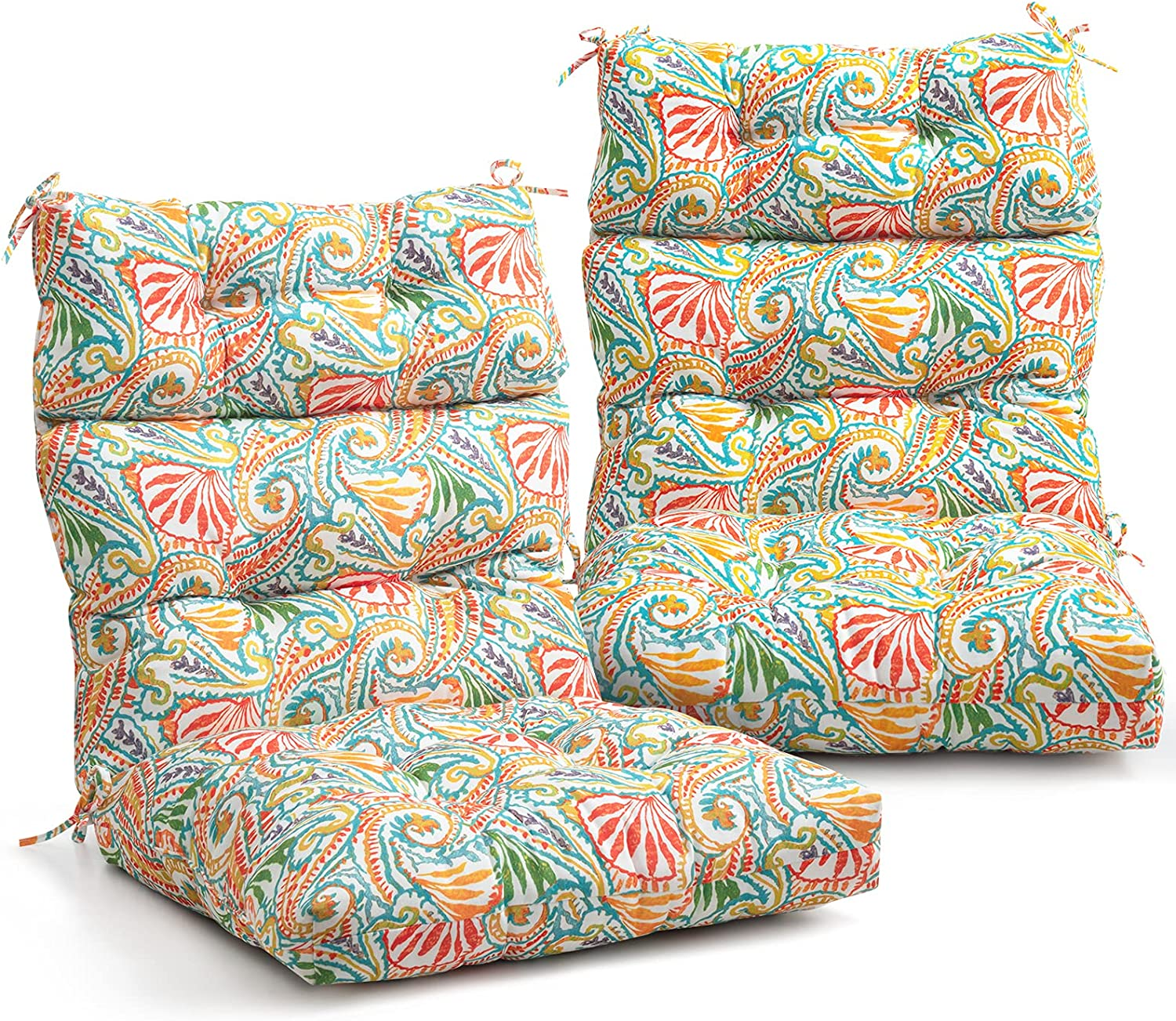 EAGLE PEAK Tufted Outdoor/Indoor High Back Patio Chair Cushion, Set of 2, 44'' x 22'', Paisley White