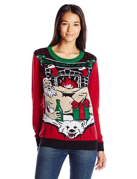 ae44e536273 Ugly Christmas Sweater Company Women s Light-up Santa On Polar Bear Rug at  Amazon Women s Clothing store