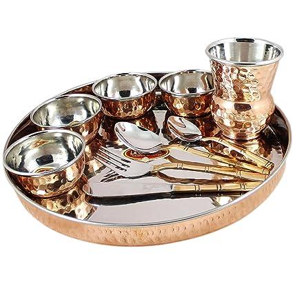 Skavij 10 pieza de vajilla de cobre de acero inoxidable fijado oro marrón gran thali plato