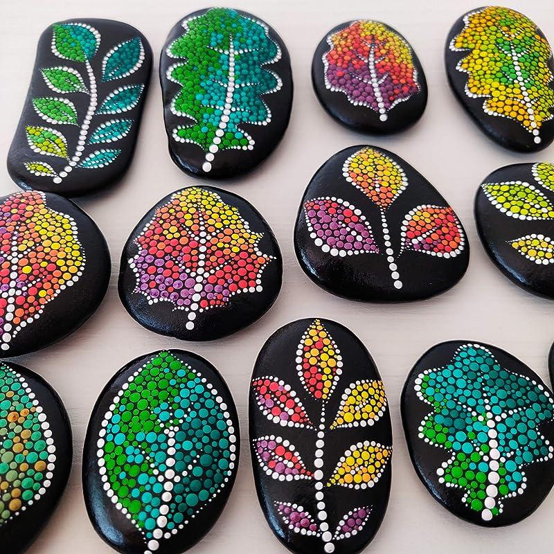 Leaf on a rock Dotart leaf house decor Dot Art Leaves on a Stone Details about  /SET OF 5