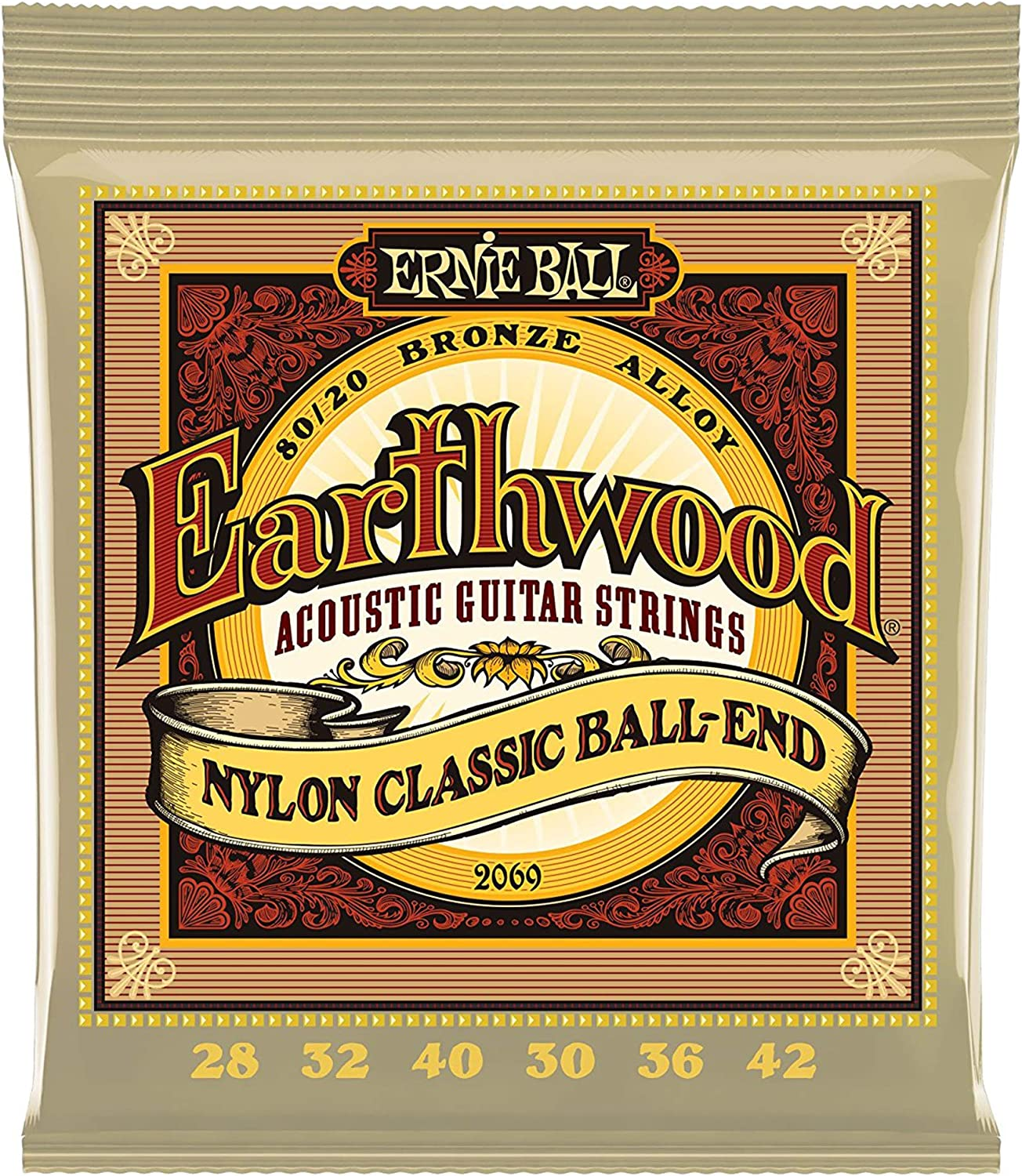 Clear and Gold Ernie Ball 2069 Earthwood Folk Nylon Ball End Set 3 Pack Bundle
