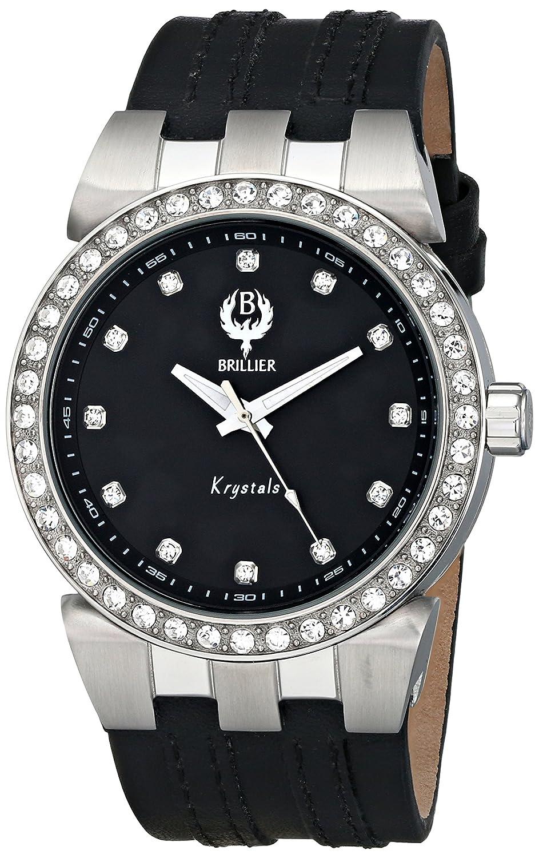 Brillier Damen-Armbanduhr 42mm Armband Kalbsleder Schwarz GehÄuse Edelstahl Quarz Analog 22-02