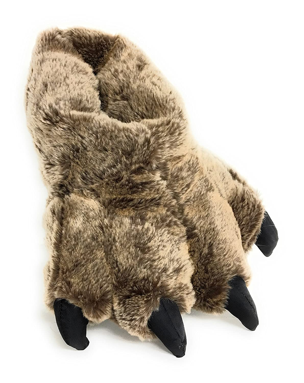 Brown Timber Wolf Sundial Wild Ones Furry Animal Claw Slippers for Toddlers, Kids and Adults