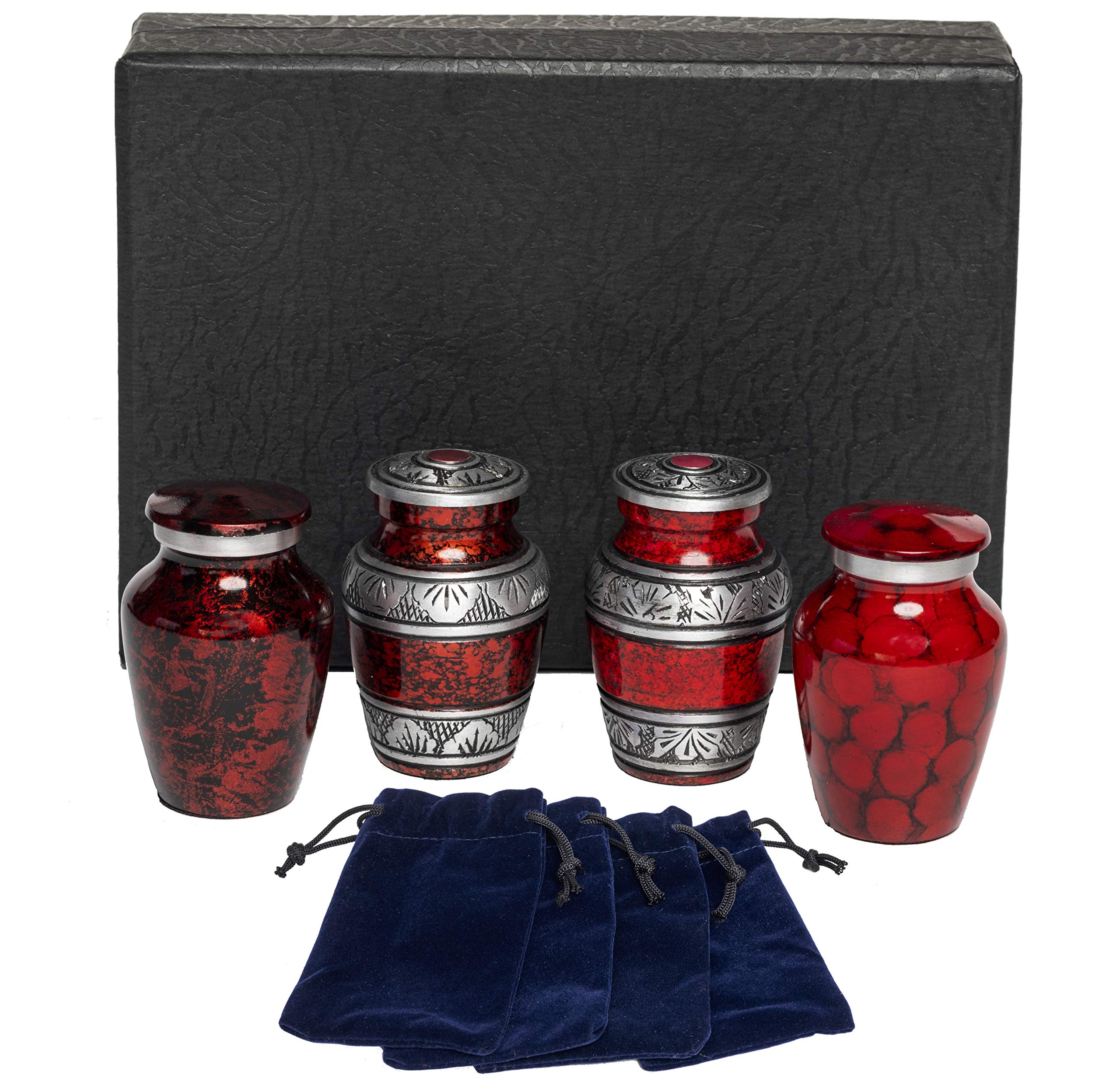 Eternal Harmony Keepsake Urns for Human Ashes   4 Cremation Urns Carefully Handcrafted with Elegant Finishes to Honor Your Loved One   Each Small Urn Comes in a Beautiful Velvet Bag (Red)