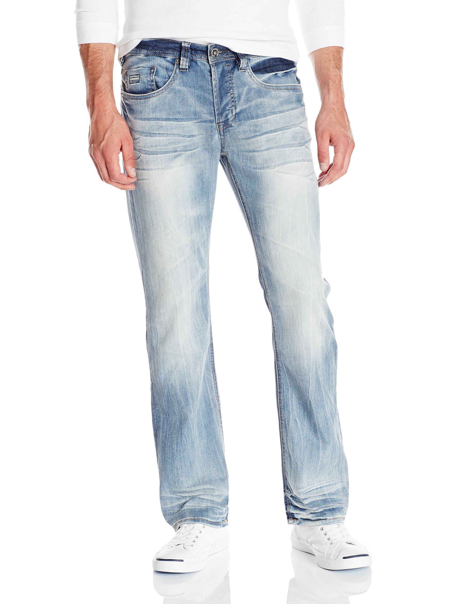 Buffalo David Bitton Men's King Slim Fit Bootcut Jean, Heavy Sandblasted, 33x34