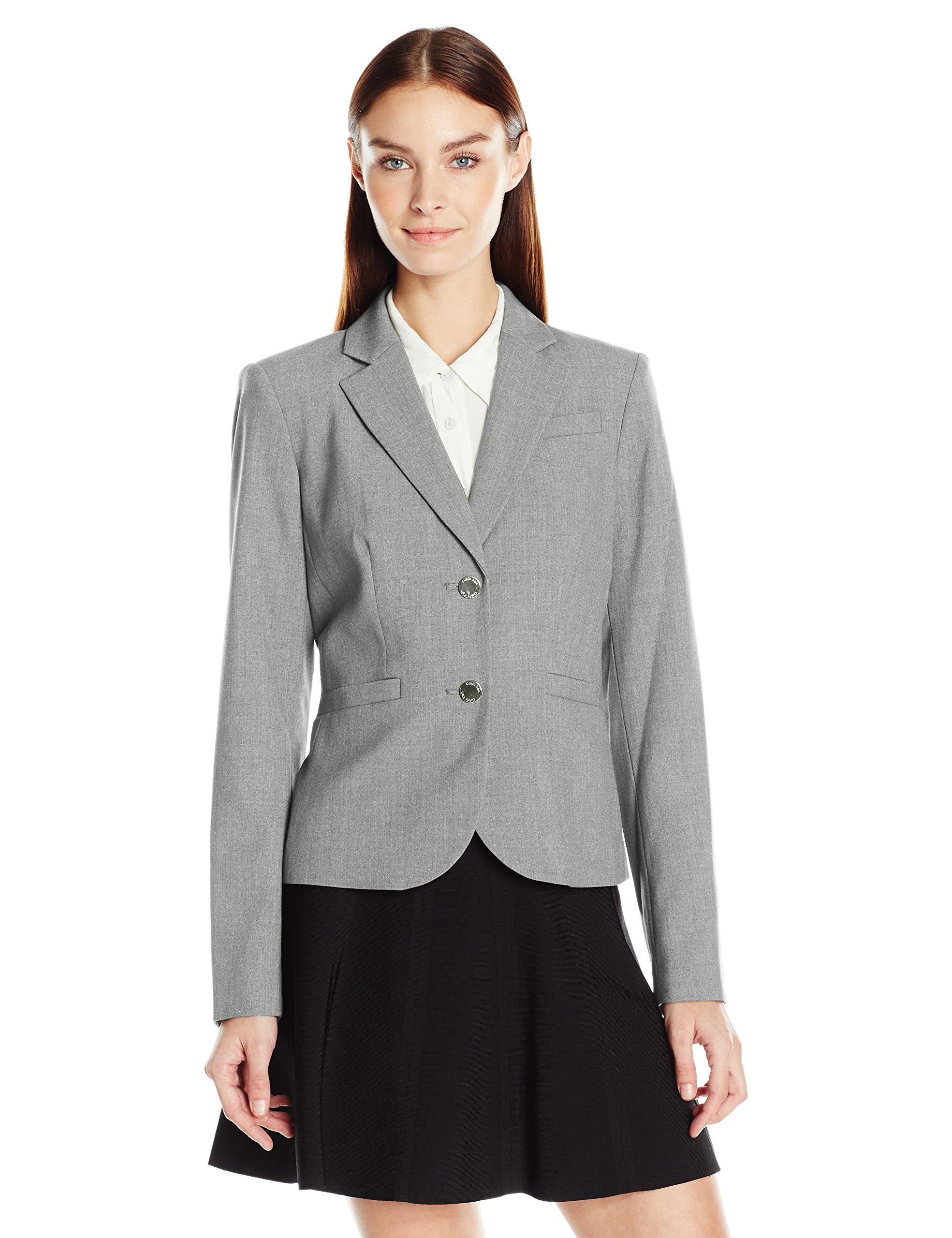 Calvin Klein Women's 2 Button Jacket in Lux, Tin, 6