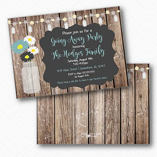 Amazon Com Rustic Wood Mason Jar Going Away Party Invitations
