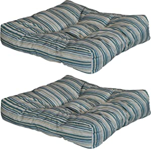 Sunnydaze Set of 2 Tufted Square Patio Cushions for Indoor/Outdoor Furniture - Replacement Cushions for Chairs and Seating - Seat Pads for Porch, Deck and Garden Seats - Neutral Stripes