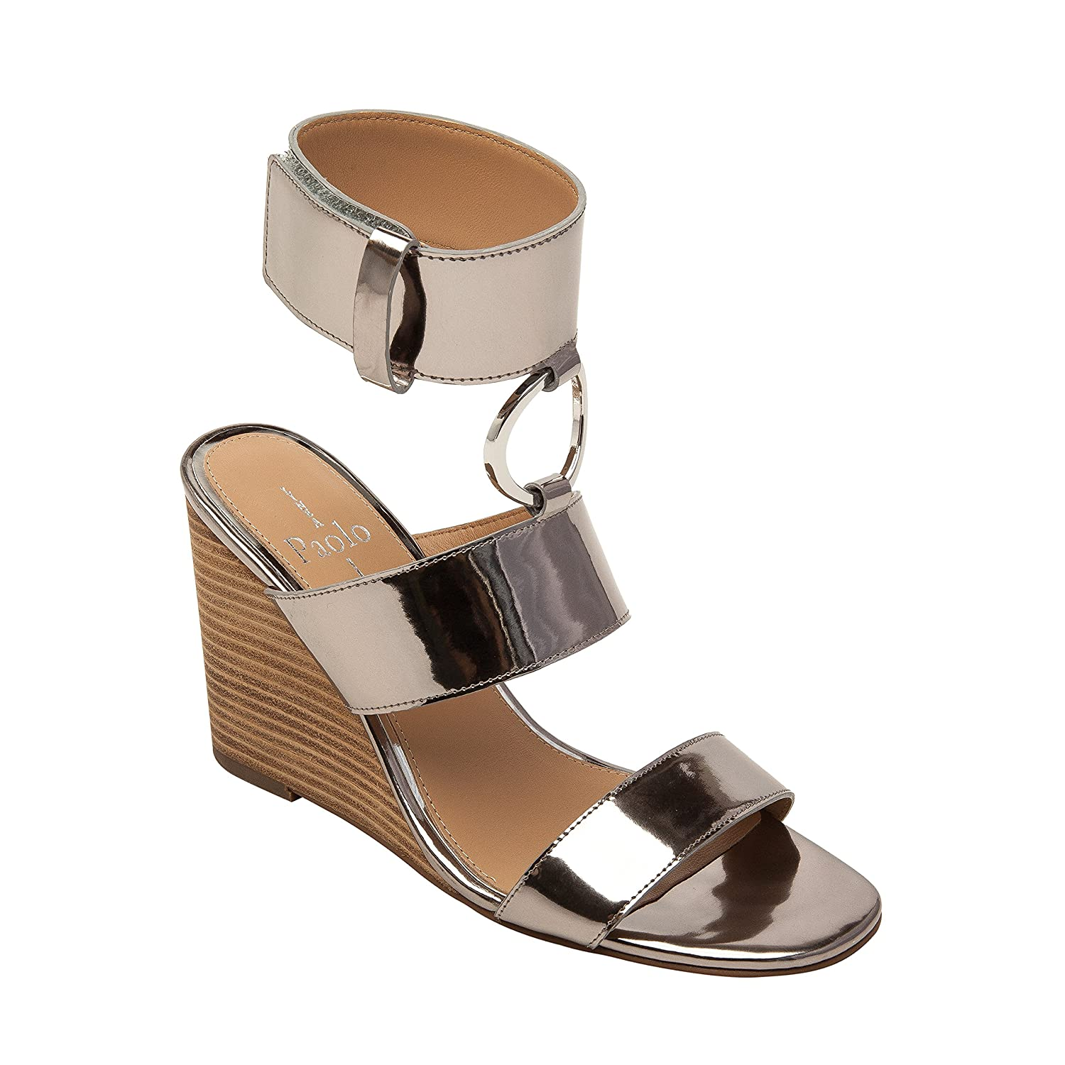 Linea Paolo EVA | Women's Metal Ring Adorned Cuffed Comfortable Wedge Sandal B07956RCH4 6.5 M US|Silver Leather