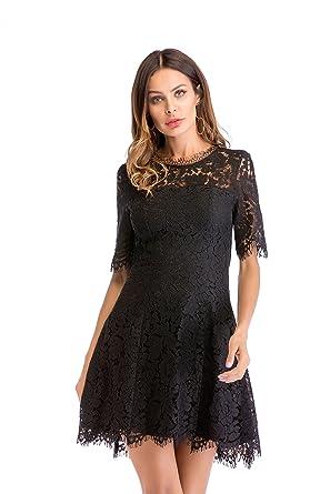 d206ebf9a00 NALATI Spitzenkleid Schwarz Kurz 1 2 Arm Partykleider Cocktailkleider  Abendkleider Elegant A-line Sommerkleid