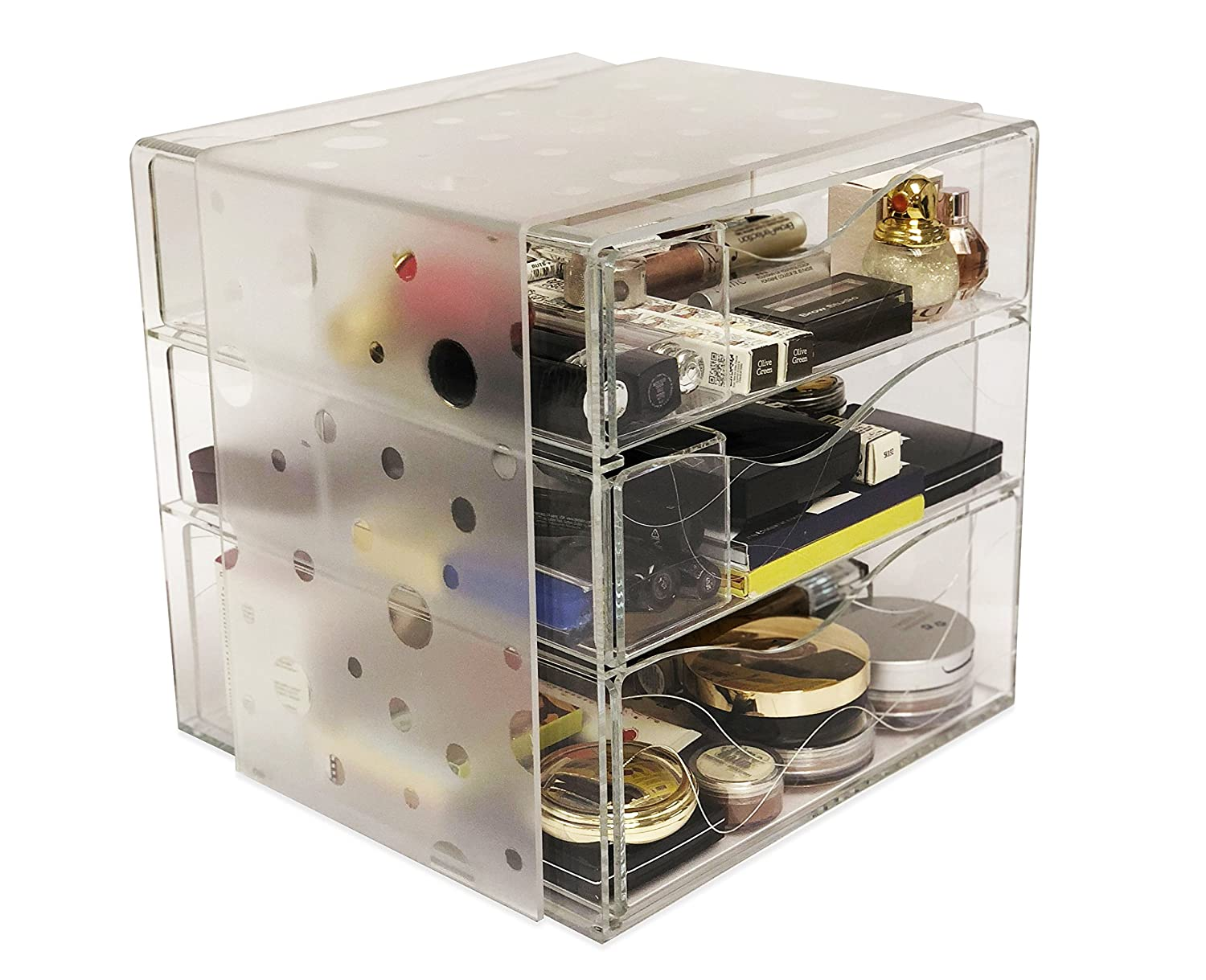 Idea Design Studio Clear Makeup Box & Cosmetics Acrylic Organizer with Removable Dividers (Dots, Small)