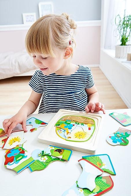 Holzpuzzle Erdbeermaus Kleinkindspielzeug mit 4 h/übschen Puzzlemotiven Niedliches Kinderpuzzle und Motorikspielzeug ab 3 Jahren