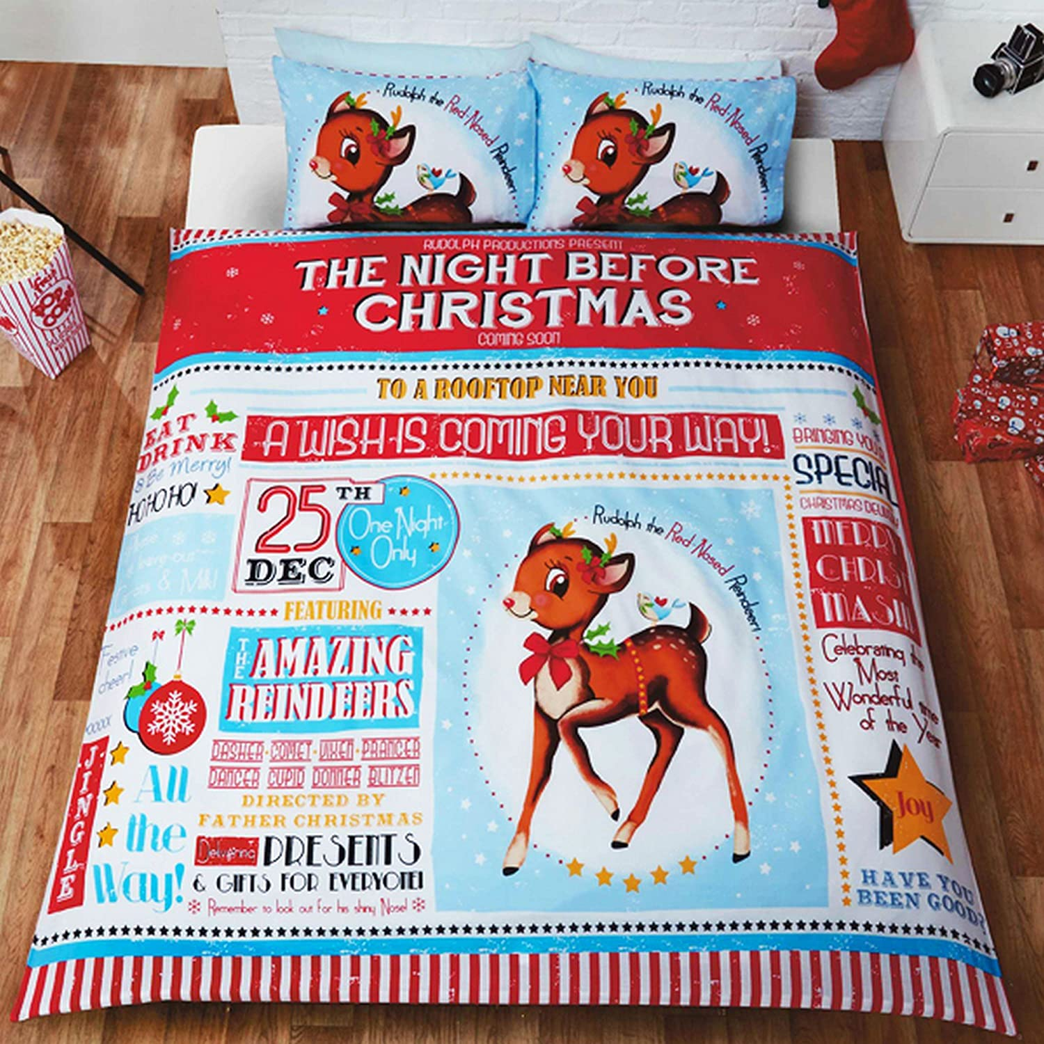 Kinder Bettwä sche Set Night Before Christmas Design (Einzelbett) (Bunt) Universaltextilien UTSG10709_1