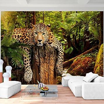 Fototapeten Leopard Afrika 352 x 250 cm Vlies Wand Tapete Wohnzimmer ...