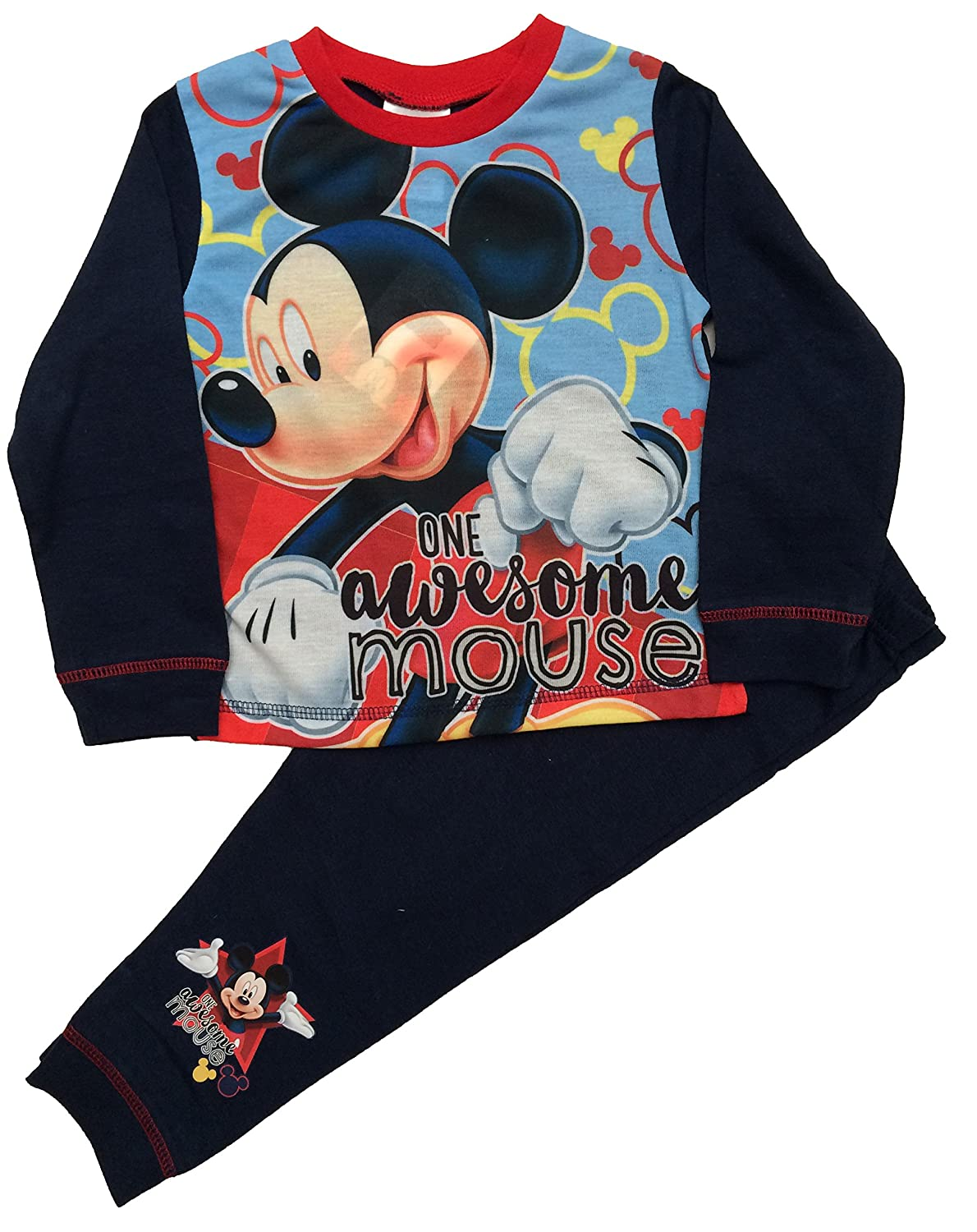 Disney Boys Mickey Mouse Pyjamas PJS Sleepwear Ages 1 To 4 Years