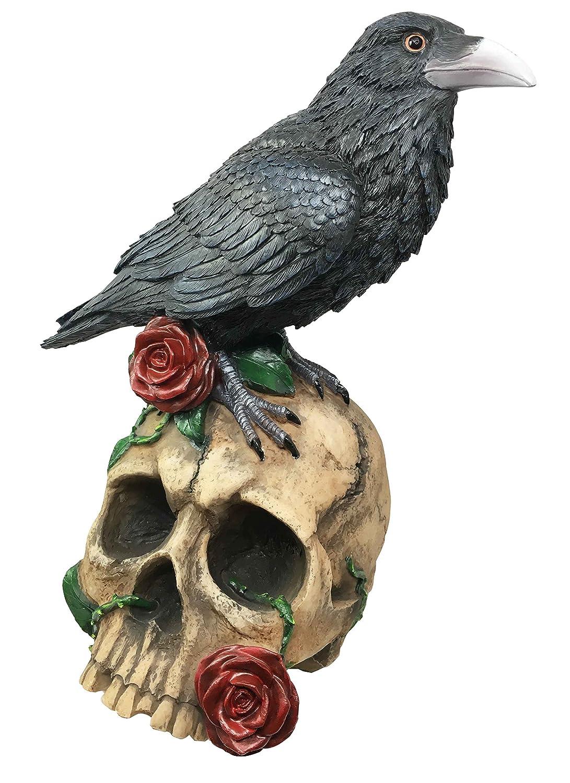Raven Crow Bird Perching On Skull Spell Roses Figurine Home Decor Skeleton Sculpture Halloween Prop