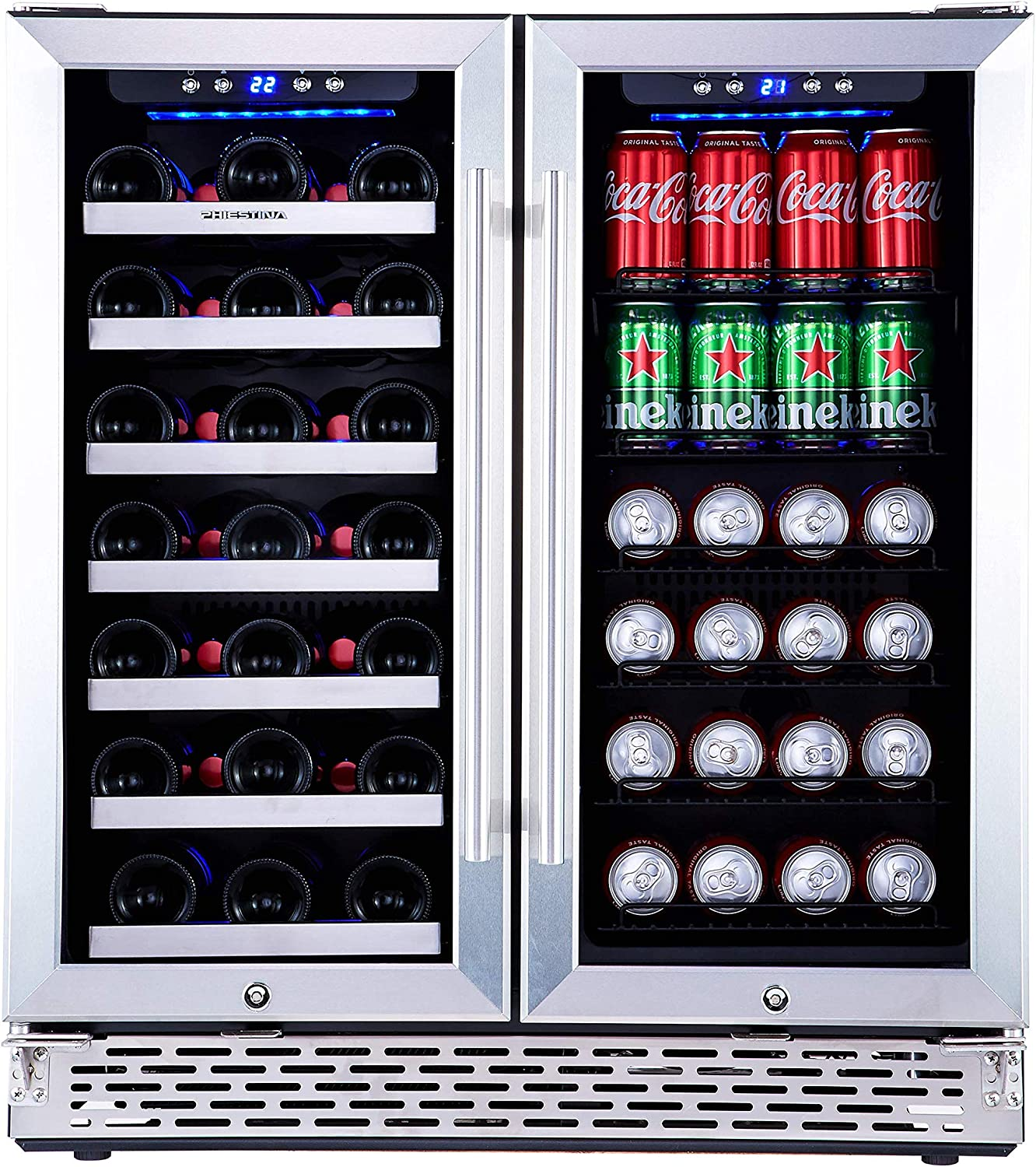 Phiestina Wine and Beverage Refrigerator | 30 Inch Built-In Dual Zone Wine Beer Cooler Refrigerator | Free Standing French Door Drink Fridge with Digital Memory Temperature Control