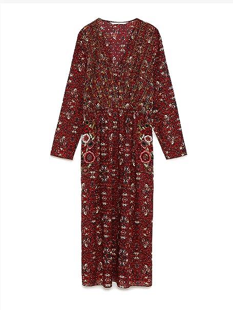 Zara - Vestido - envolvente - para mujer rojo S