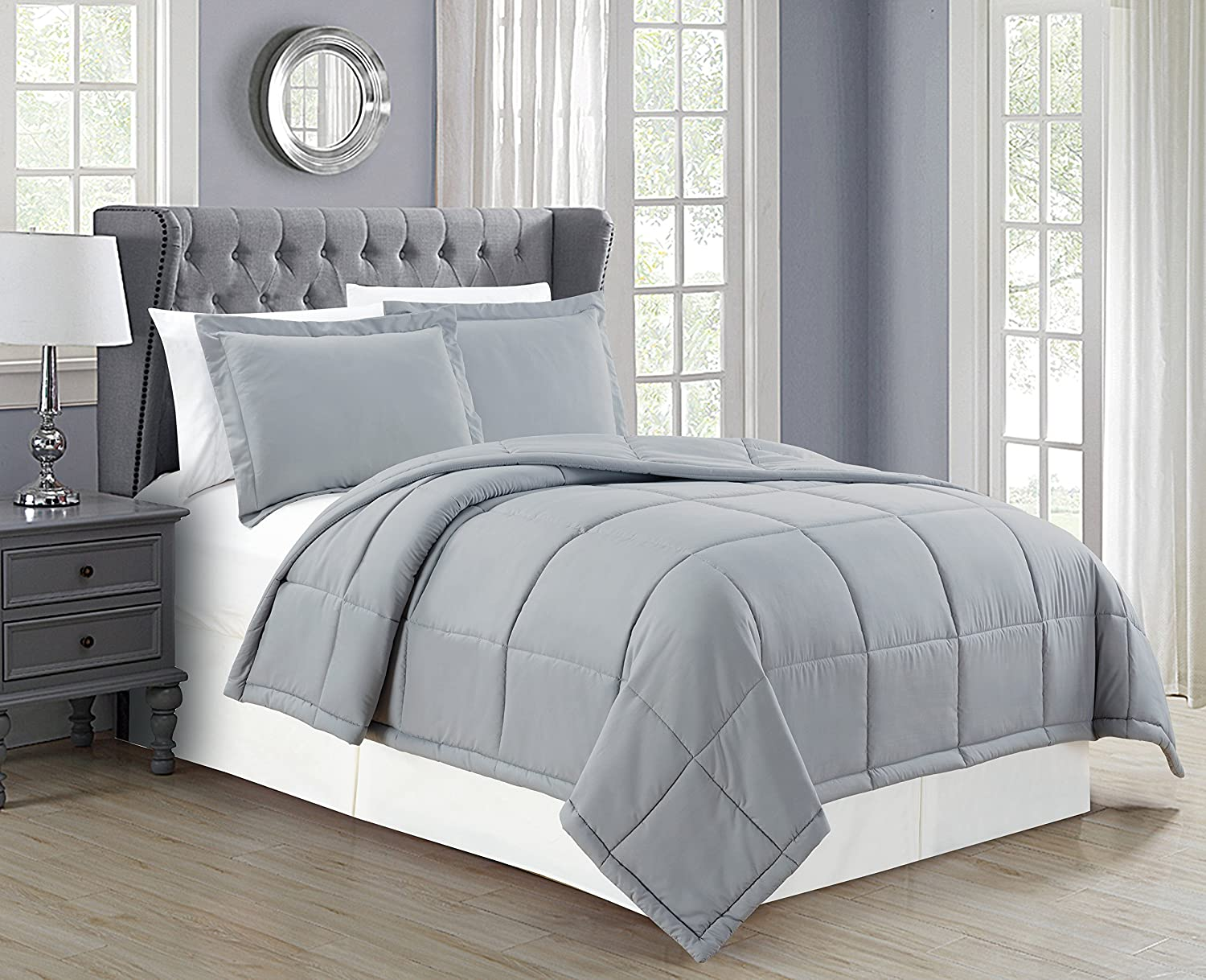 Black New Mk Collection 2 pc Down Alternative Comforter Set Solid Twin