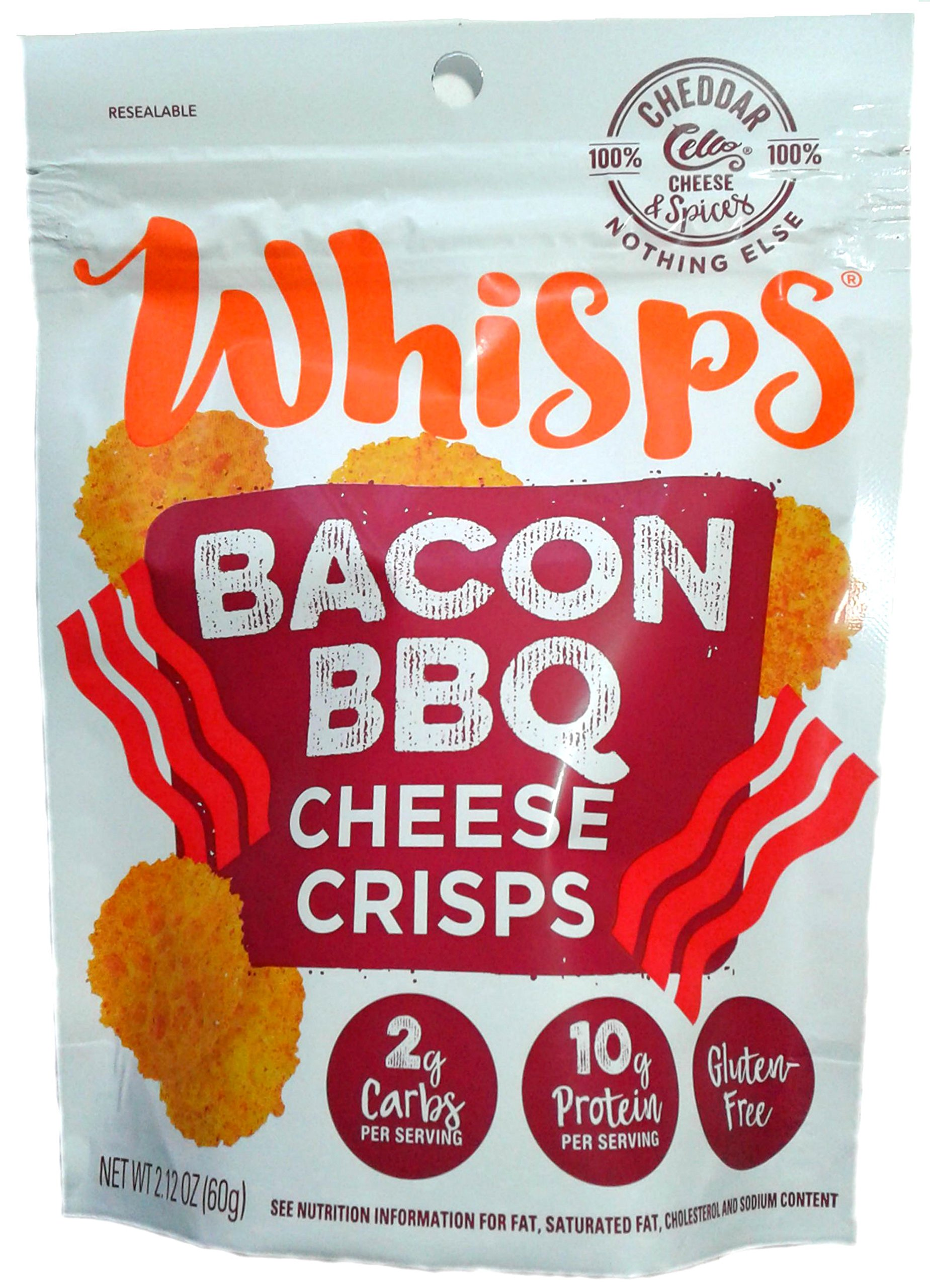Whisps Bacon BBQ Cheddar Cheese Crisps; 100% Cheese, Low Carb, Gluten Free, High Protein (12 Pack)