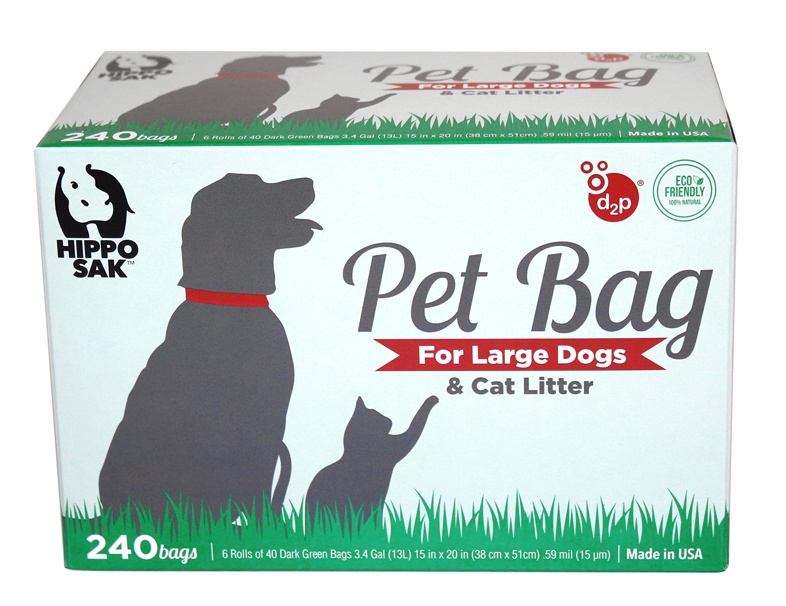Hippo Sak Extra Large Pet Poop Bags for Large Dogs and Cat Litter, 240 Count