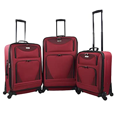 "3 Piece Expandable Luggage Set Includes 28"" Suitcase, 24"" Upright, and 20"" Carry-On with Smooth Spinner Wheels and Reinforced Material, Red Color Option"