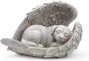 Napco Dog Sleeping in Angel Wings Pet Memorial Statue
