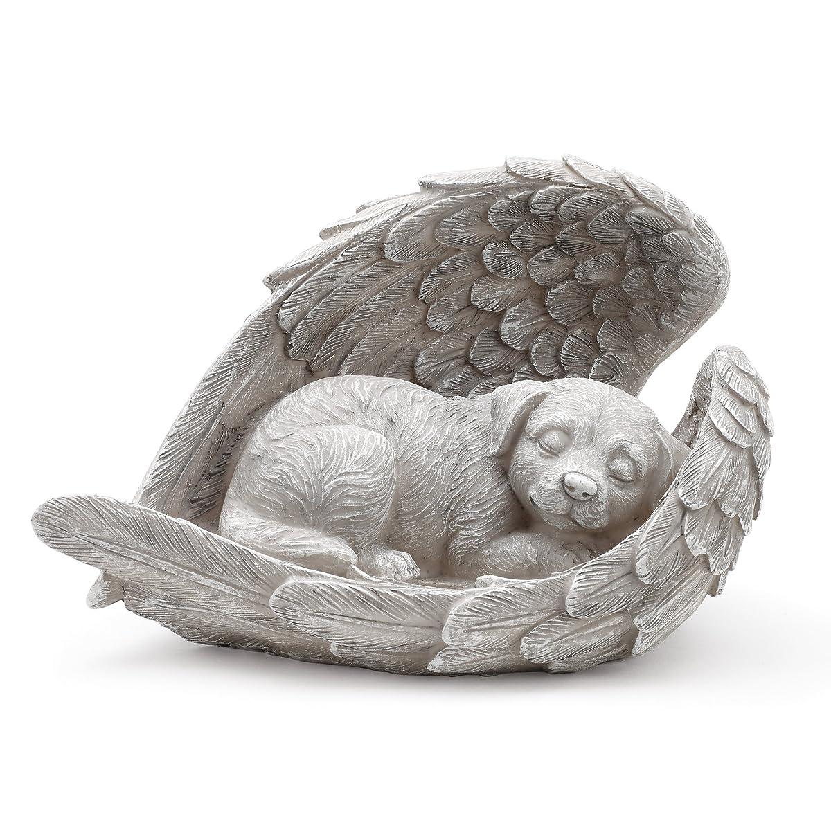 Dog Sleeping in Angel Wings Pet Memorial Statue