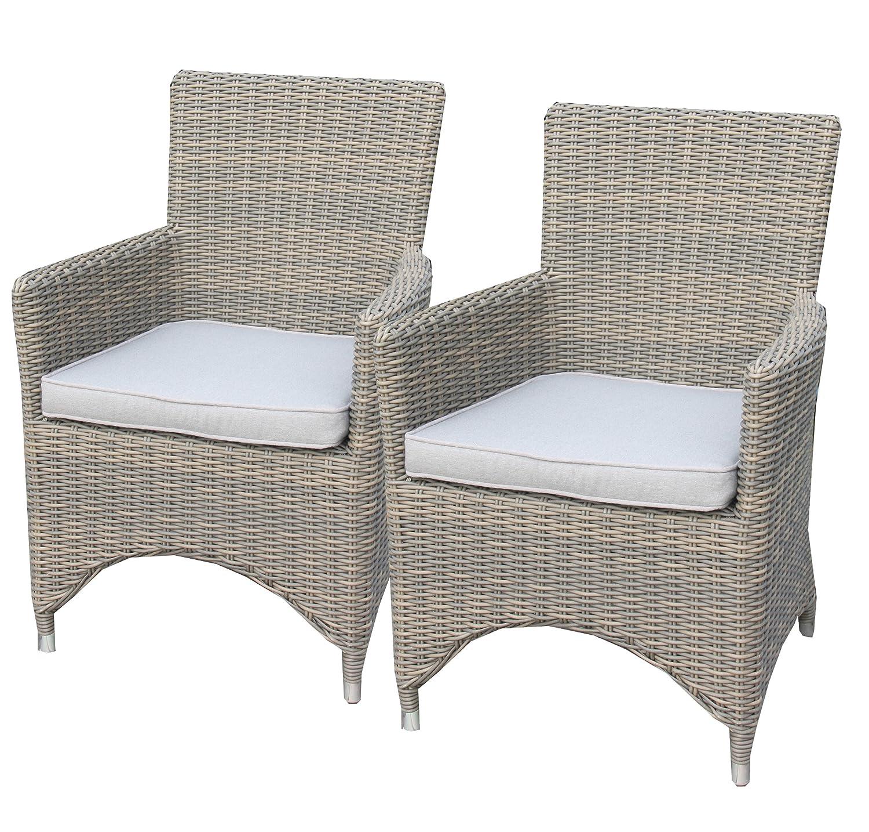 Ambientehome Polyrattan Sessel Stuhl inkl. Kissen Mombasa, beige, 2-teiliges Set