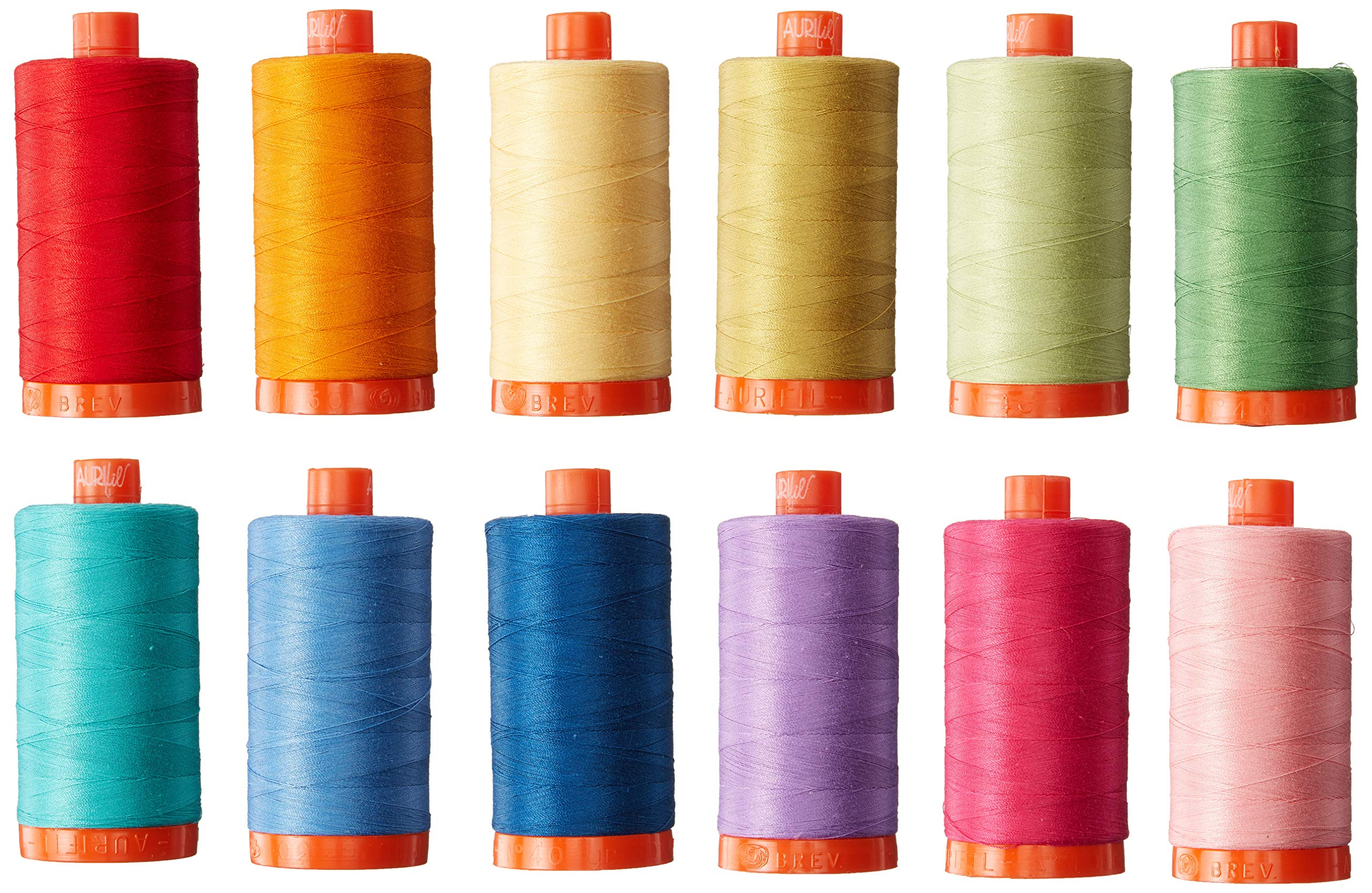 Aurifil CW50PQC12 Christa Quilts Piece and Quilt Colors Thread Kit 12 Large Spools 50 Weight by Aurifil